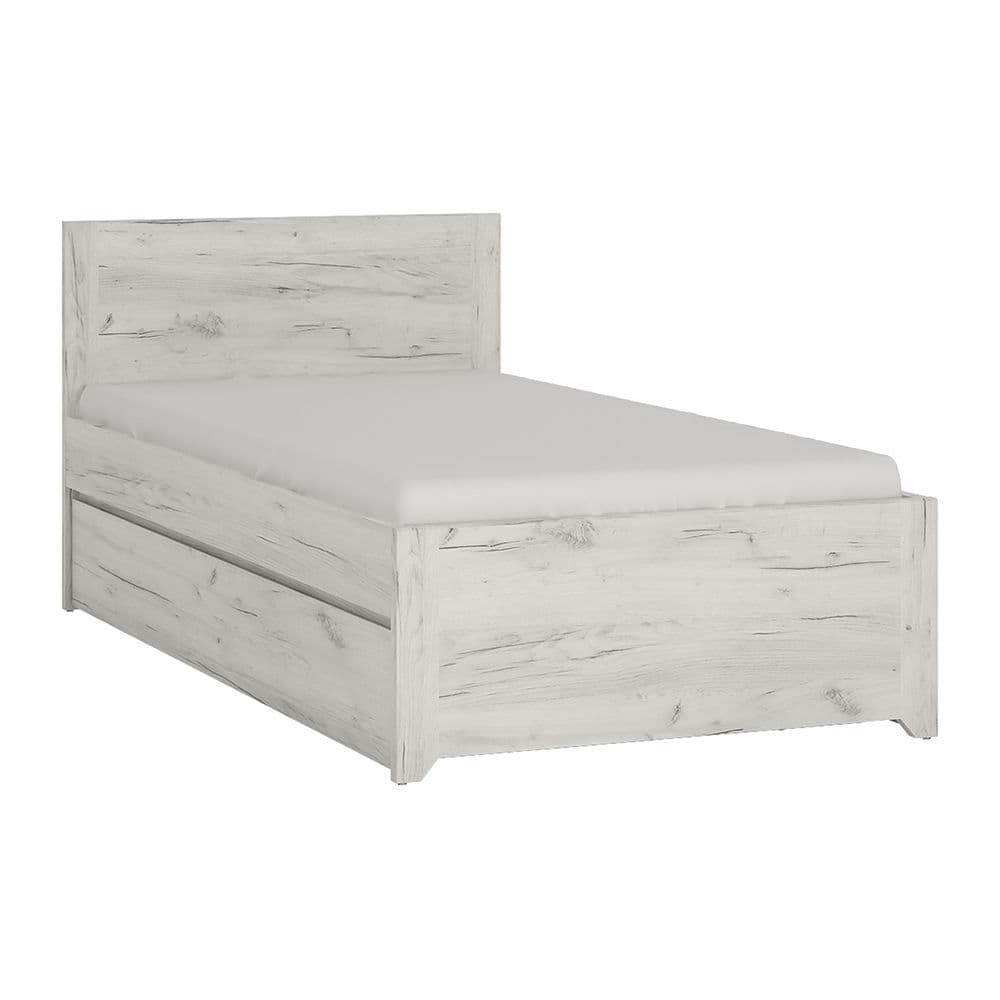 Argon Single Bed with underbed Drawer (Inc Slats) in White Craft Oak